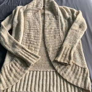 Wool and cashmere blend oatmeal color cardigan